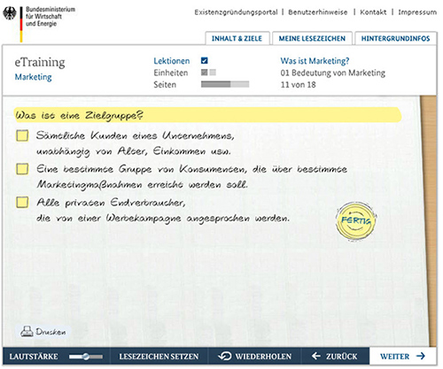 Programm-Galerie eTraining Marketing Zielgruppe